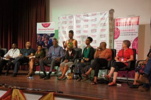 Muthoni Garland, founder of Storymoja festival introducing the artists (Lotte Hughes second from right)