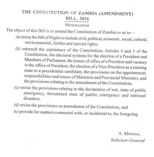 Zambia Bill 2016
